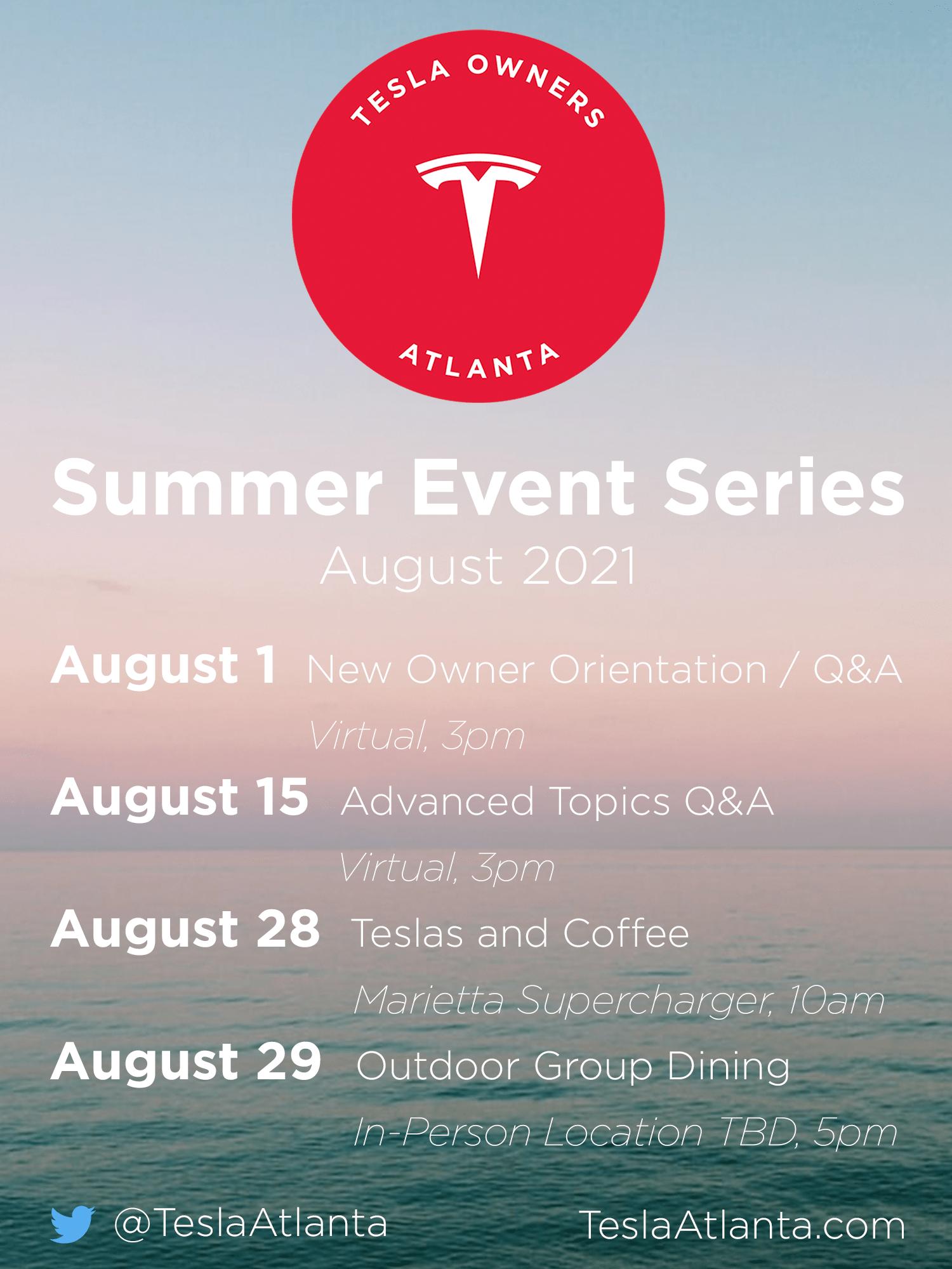 August Event Schedule
